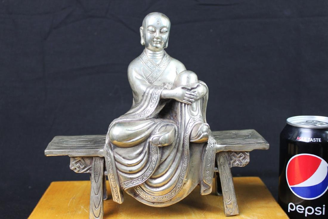 Antique Chinese Sterling Silver Guanyin Statue