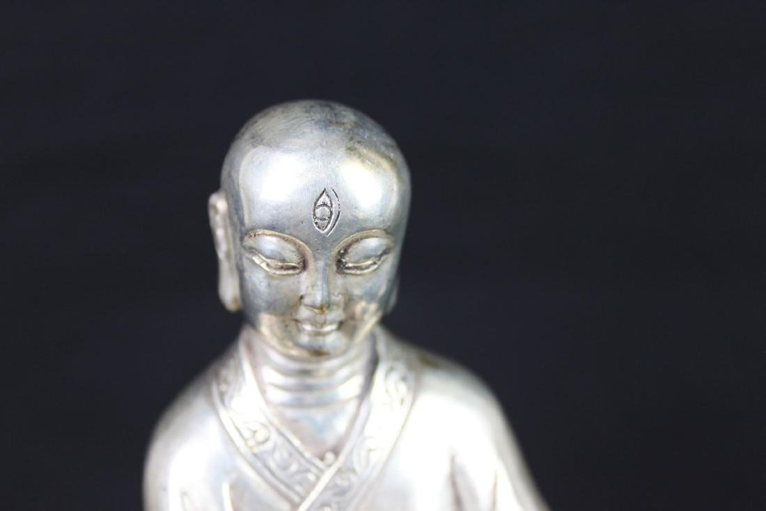 Antique Chinese Sterling Silver Guanyin Statue - 2