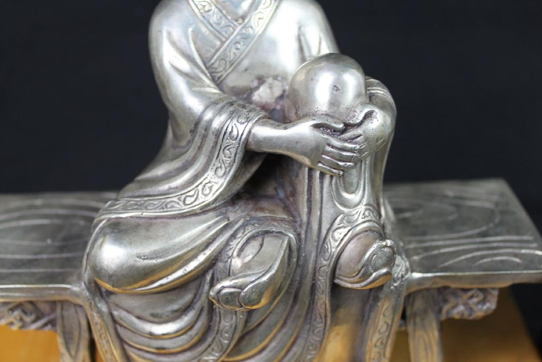 Antique Chinese Sterling Silver Guanyin Statue - 3