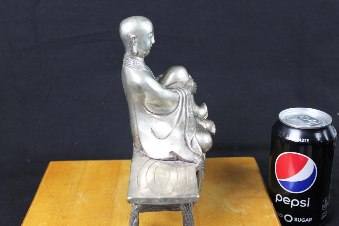 Antique Chinese Sterling Silver Guanyin Statue - 5
