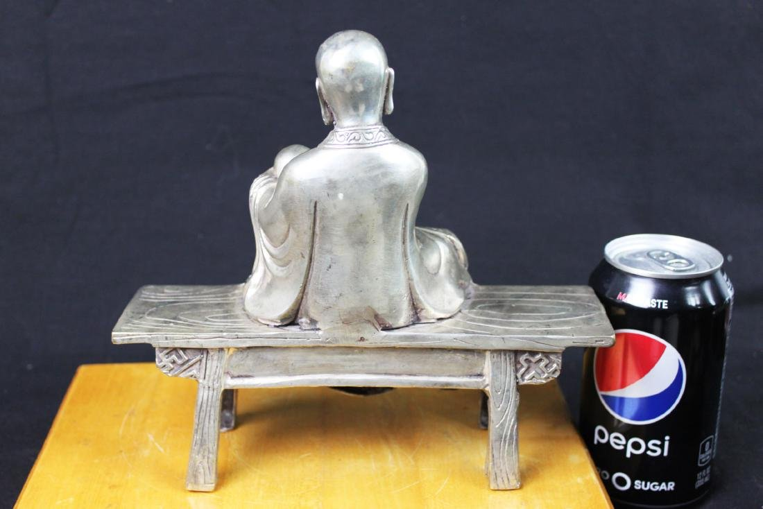 Antique Chinese Sterling Silver Guanyin Statue - 6
