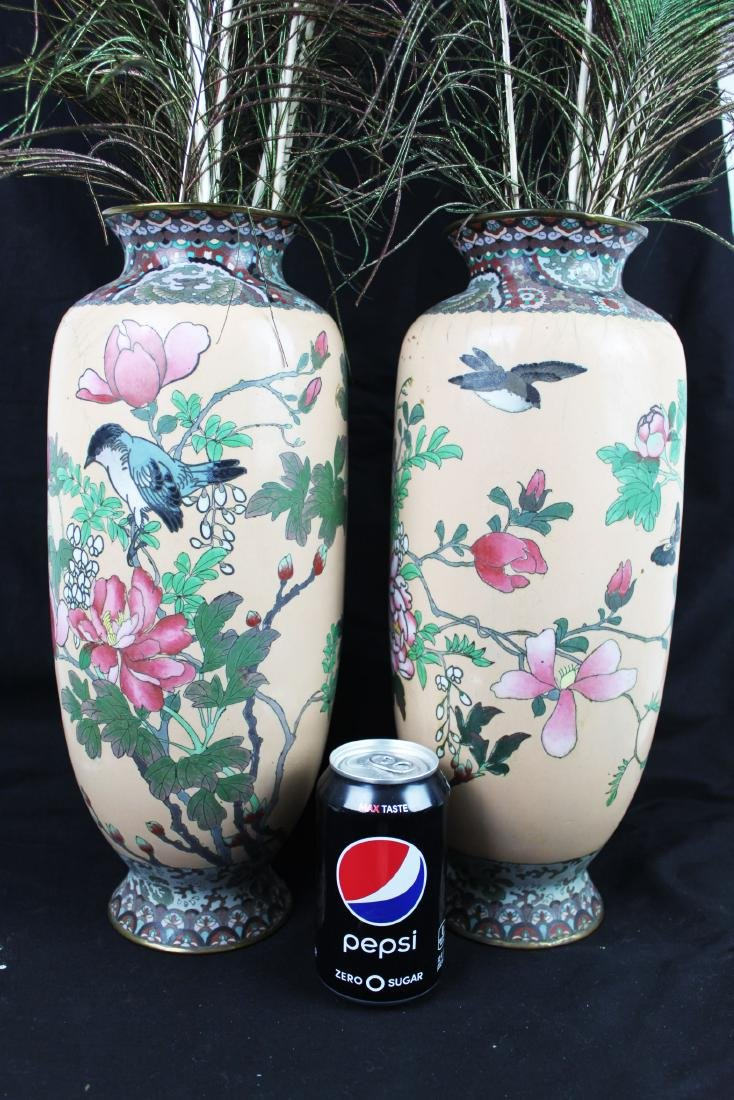 A Pair of Antique Chinese Cloisonne Vases