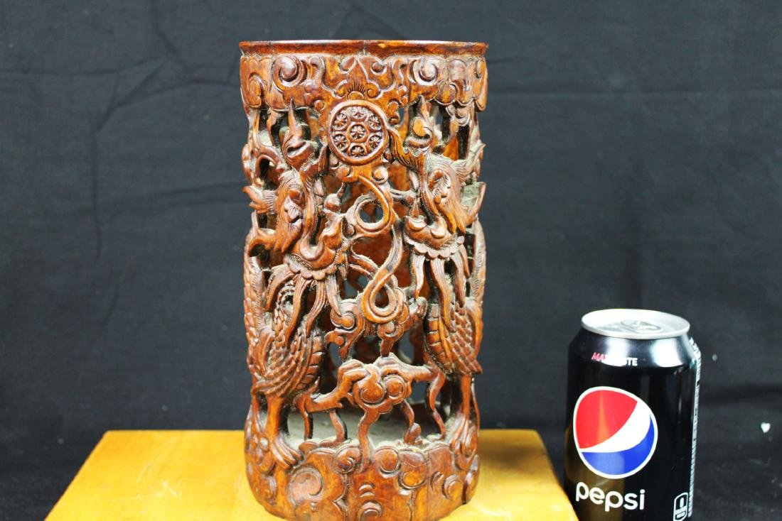 Hand Carved Wood Vase