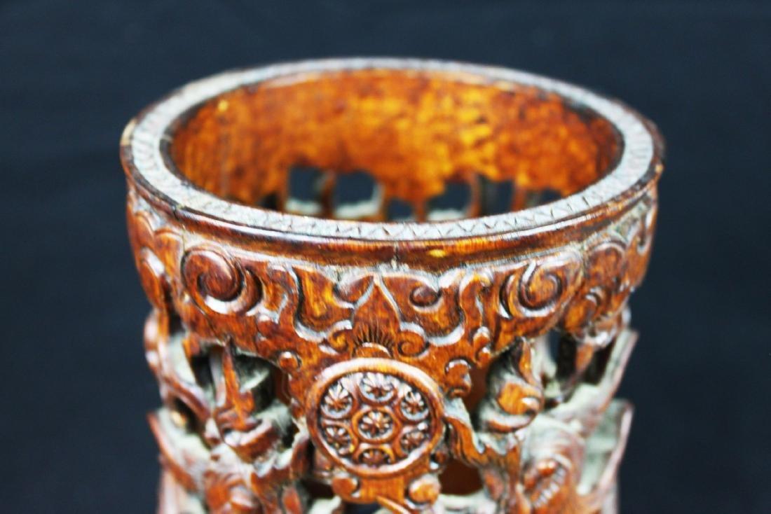 Hand Carved Wood Vase - 2