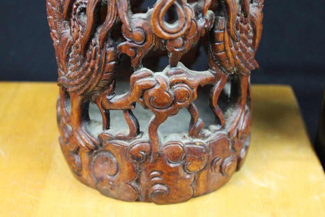 Hand Carved Wood Vase - 4