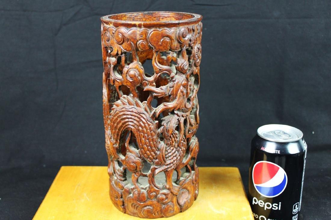 Hand Carved Wood Vase - 5