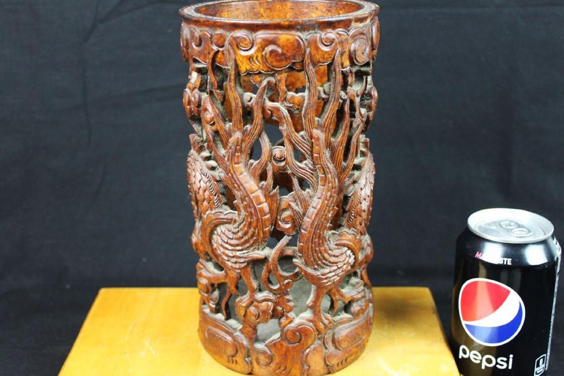 Hand Carved Wood Vase - 6