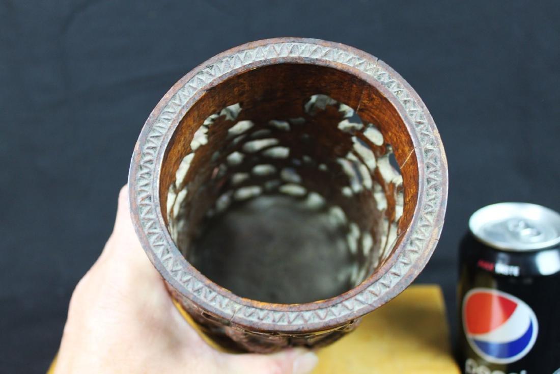 Hand Carved Wood Vase - 7