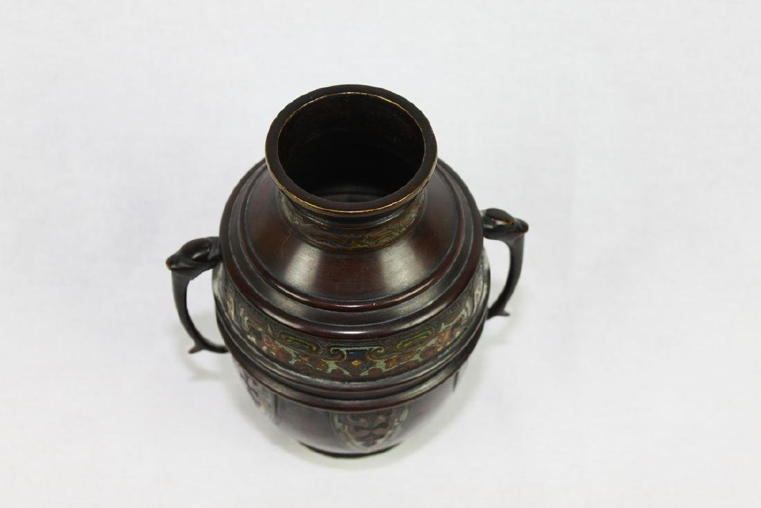 Antique Oriental Bronze Vase with Handles - 10