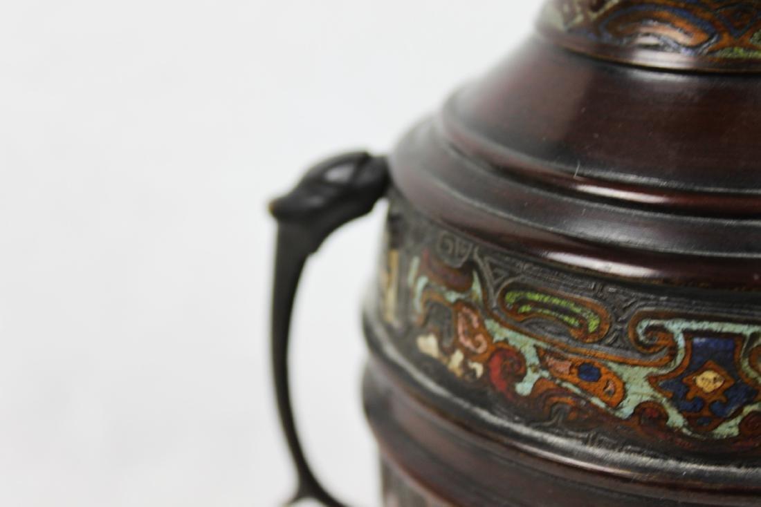 Antique Oriental Bronze Vase with Handles - 8