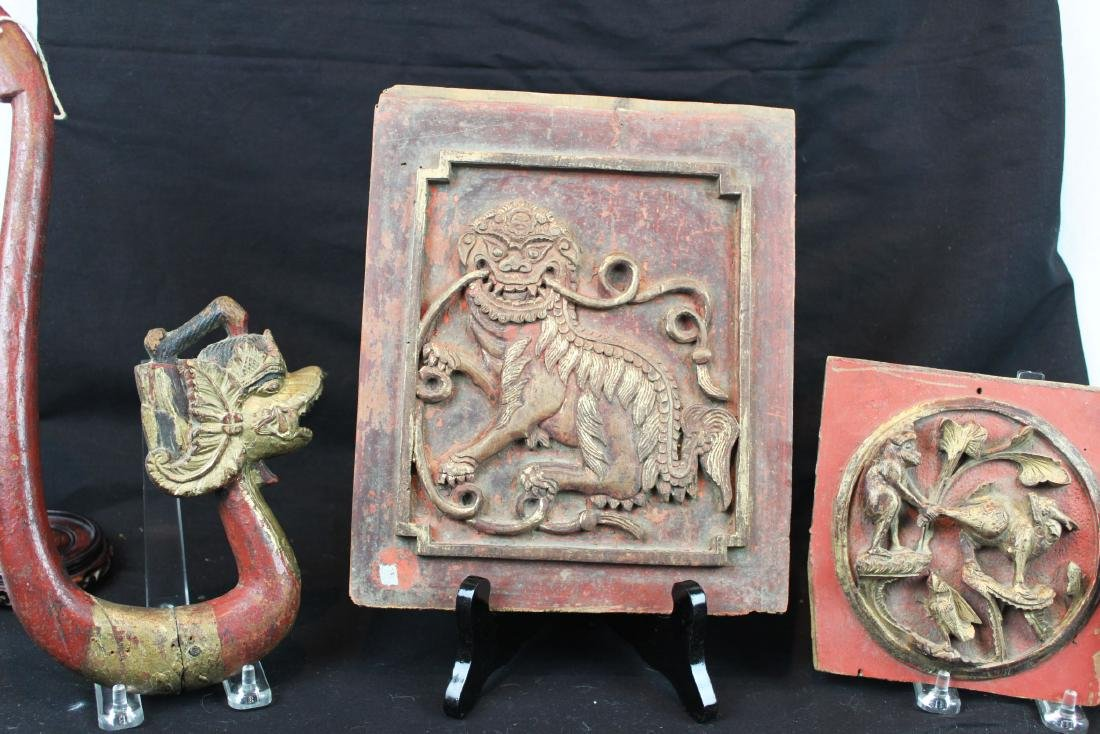 3 Antique Chinese Wood Panel