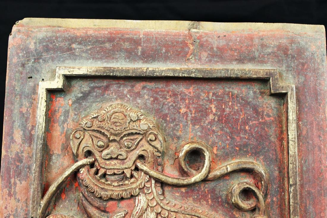 3 Antique Chinese Wood Panel - 2