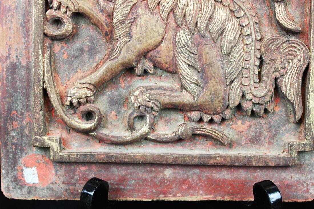 3 Antique Chinese Wood Panel - 4