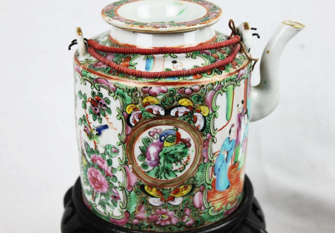 Antique Chinese Famillie Rose Teapot - 7