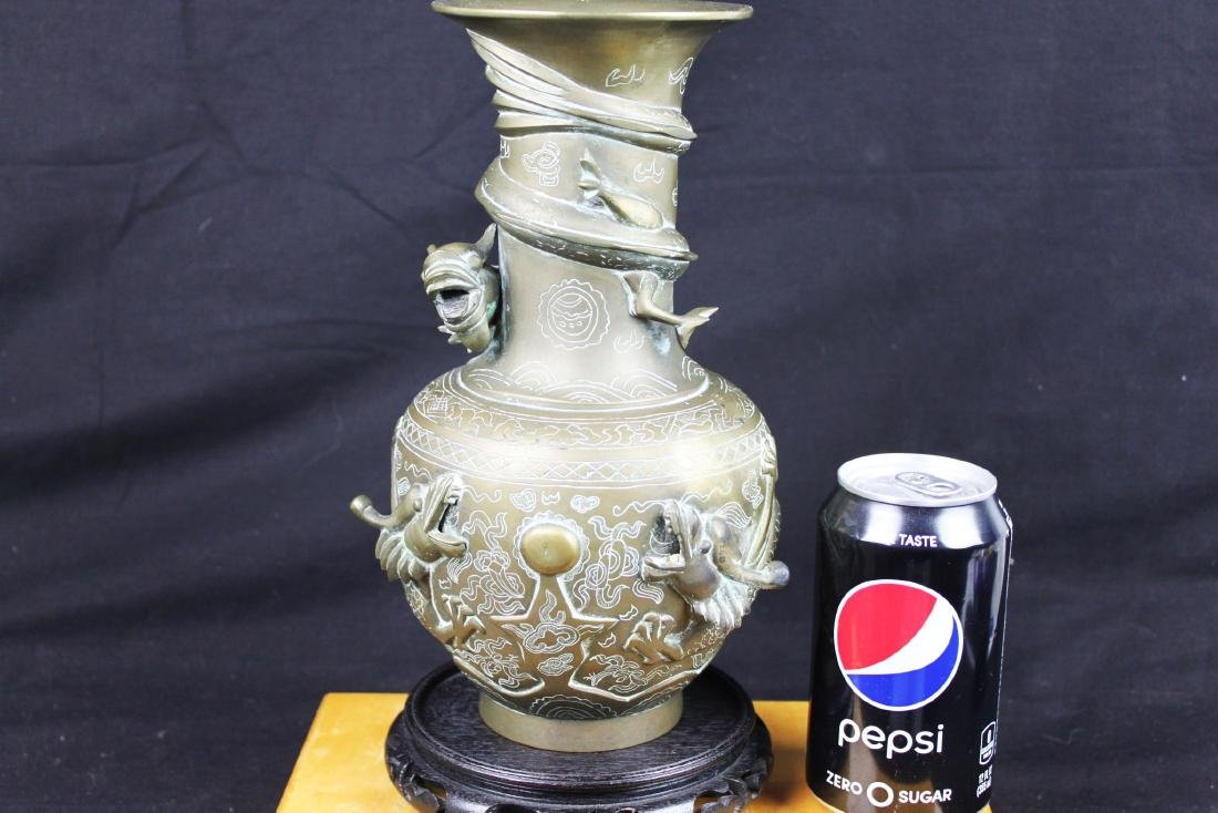 Antique Chinese Bronze Vase with Dragon Pattern