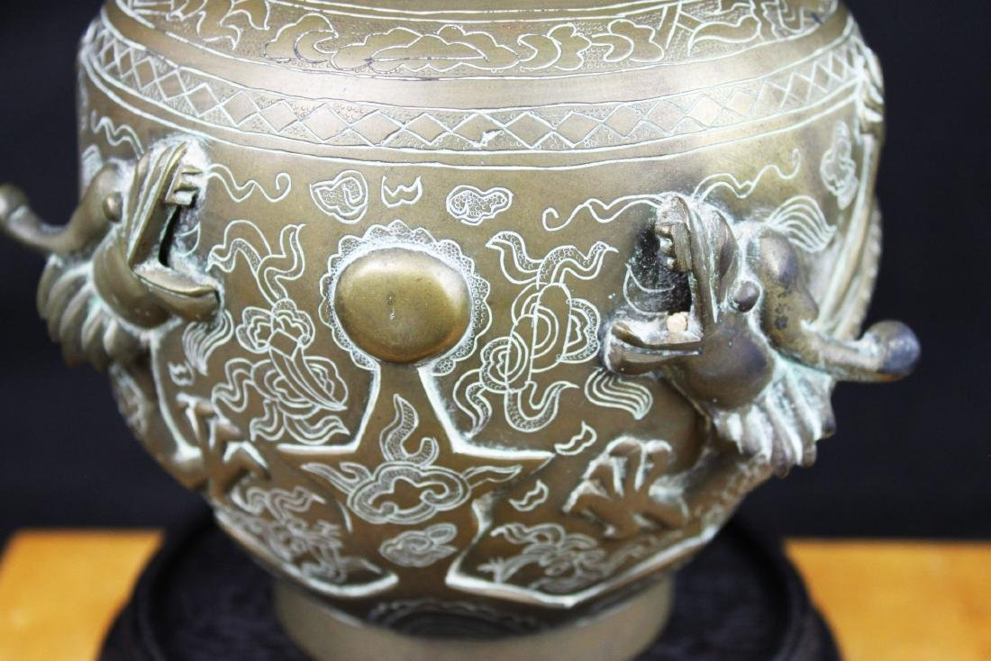 Antique Chinese Bronze Vase with Dragon Pattern - 4