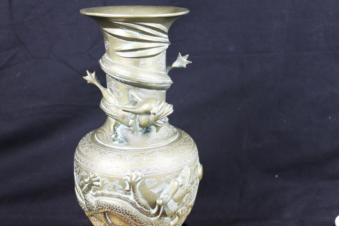 Antique Chinese Bronze Vase with Dragon Pattern - 5
