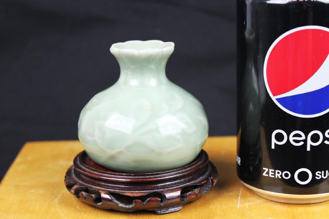 Chinese Junyao Mini Vase w/ Wood stand