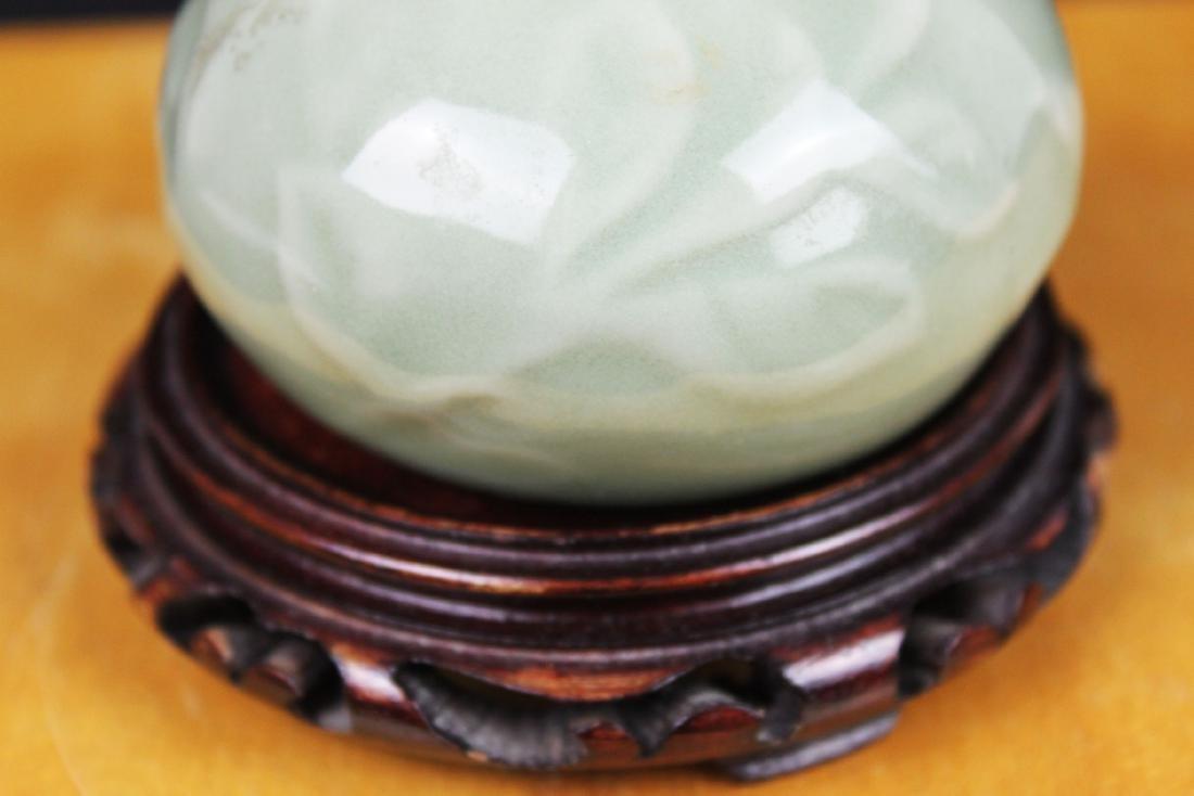 Chinese Junyao Mini Vase w/ Wood stand - 3
