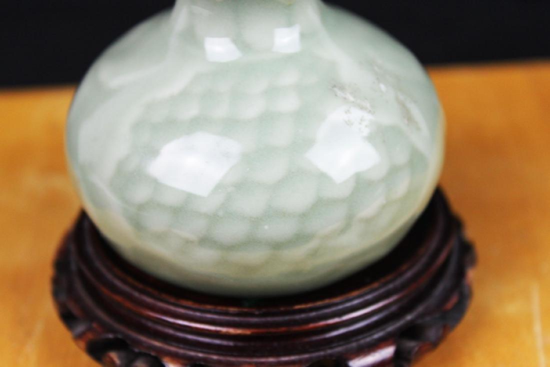 Chinese Junyao Mini Vase w/ Wood stand - 4