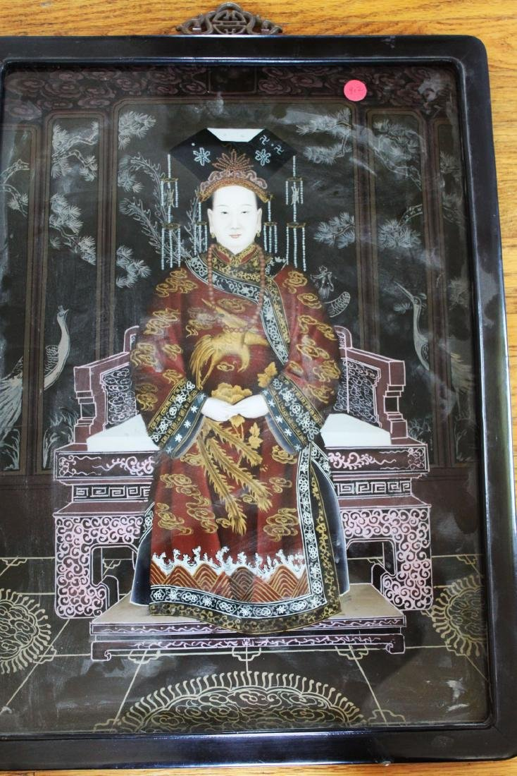 Antique Glass Painting of Chinese Empress Dowager Cixi