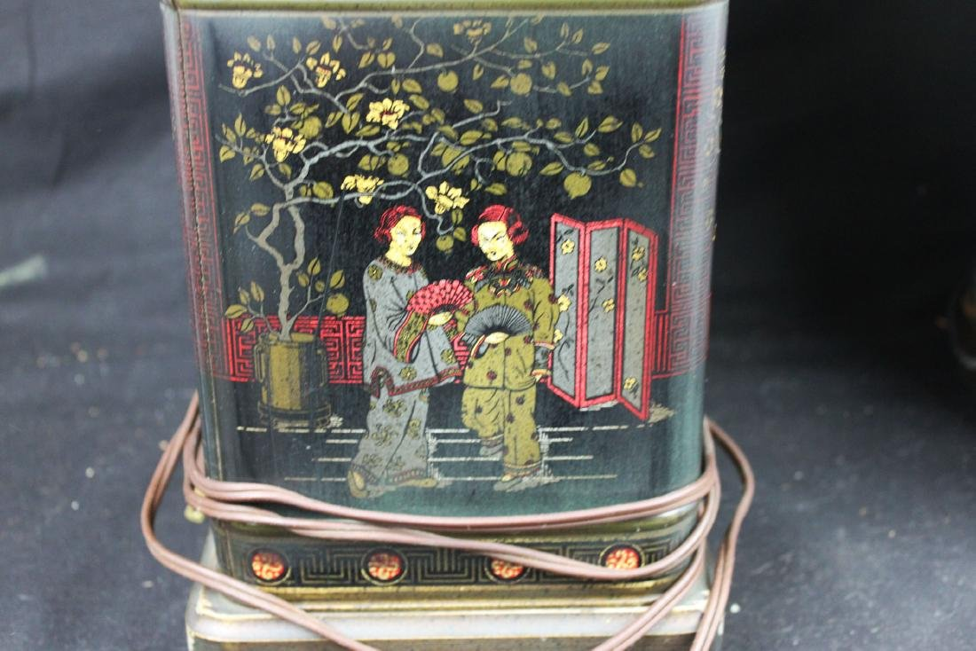 A Pair Antique Chinese Lamps Bronze base - 10