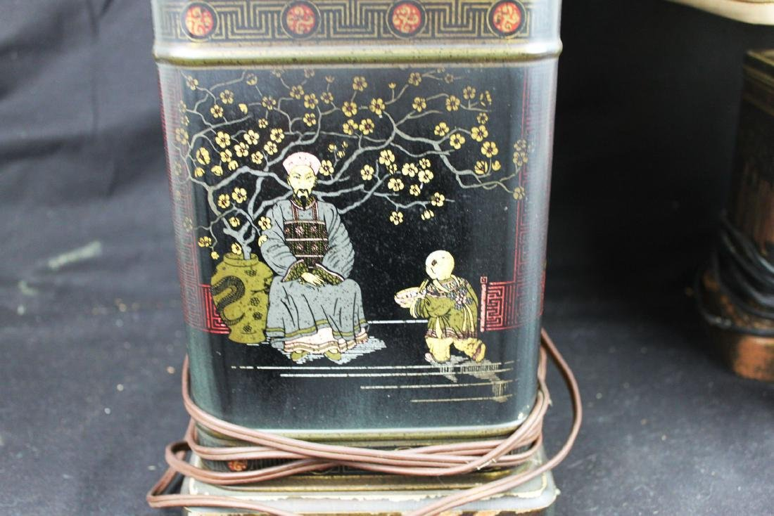 A Pair Antique Chinese Lamps Bronze base - 7
