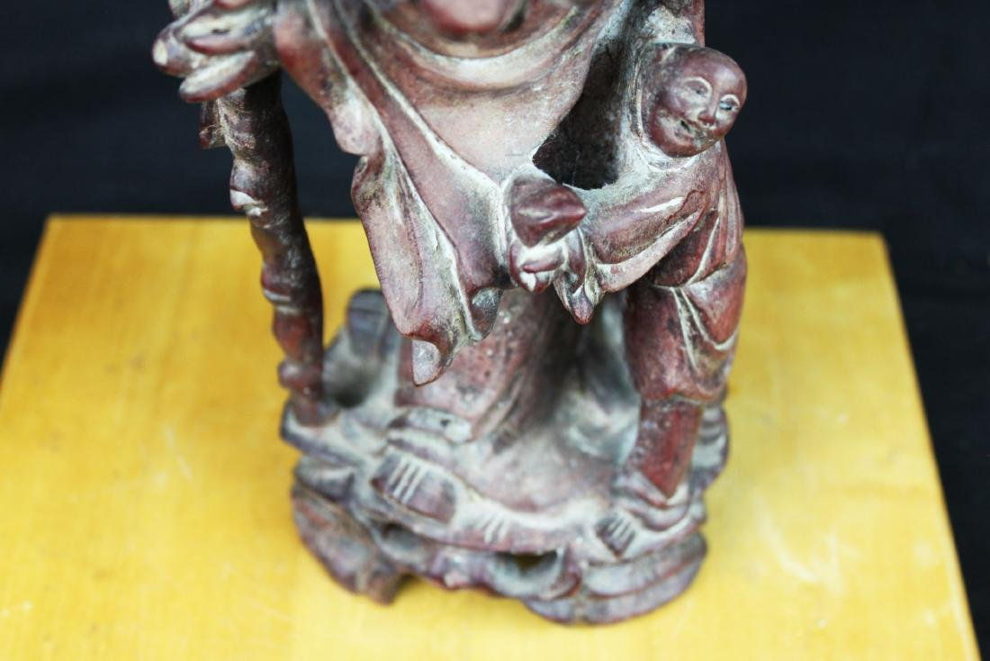 Antique Hand Carved Wood Statue - 4