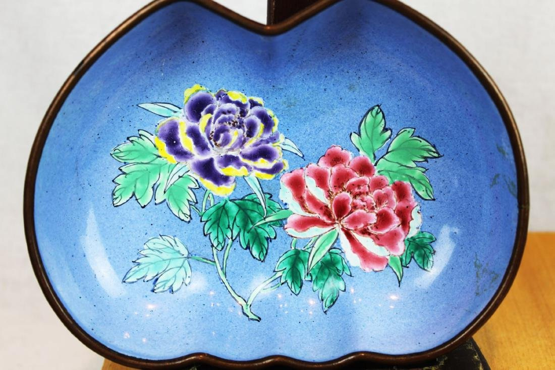 Two Chinese Cloisonne Dishes - 2