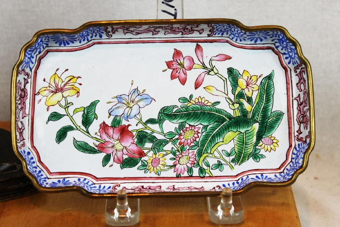 Two Chinese Cloisonne Dishes - 4