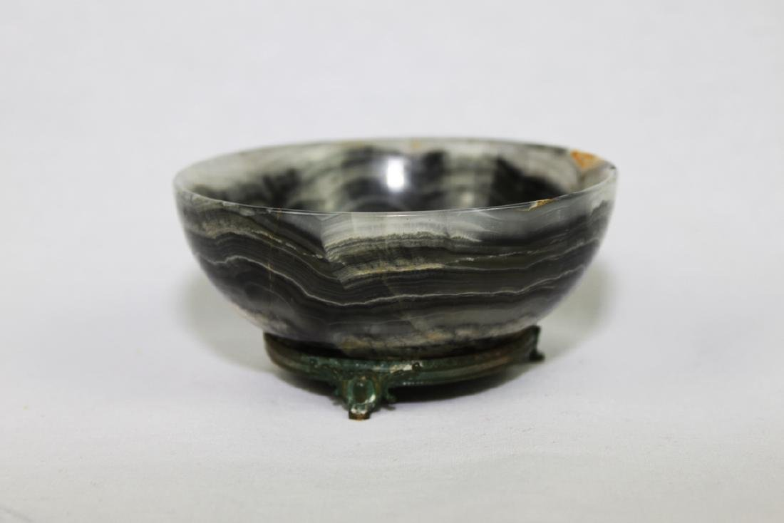 Antique Chinese Marble Bowl with Bronze Stand Attached - 2