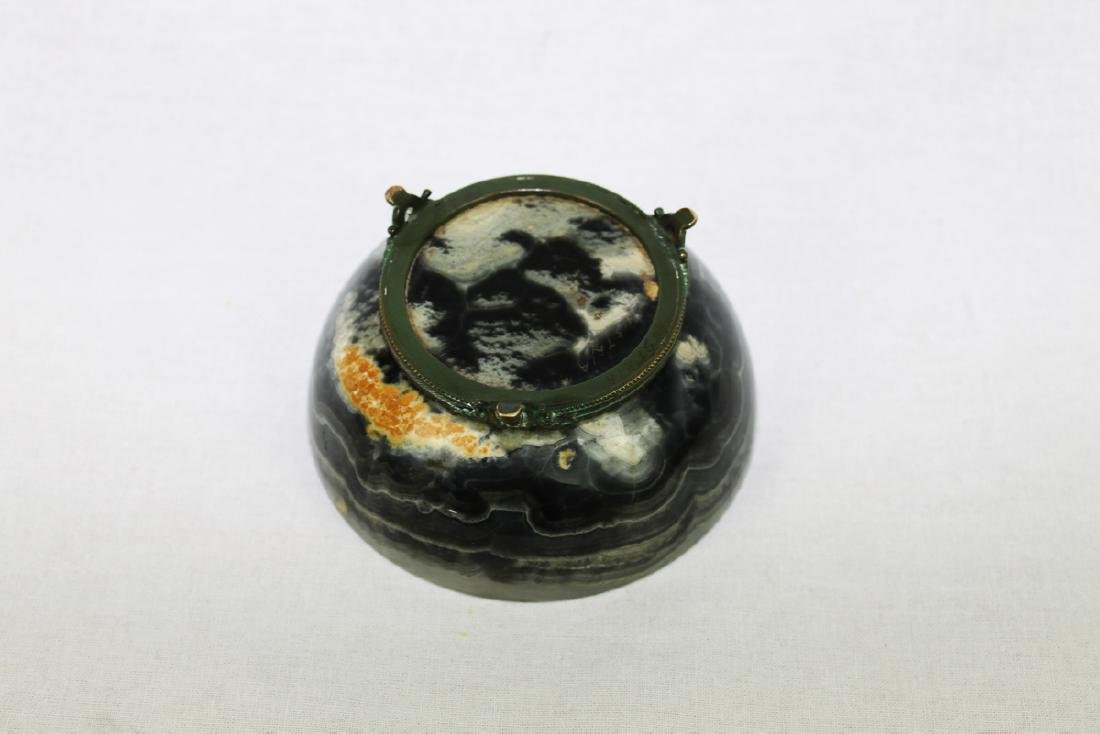 Antique Chinese Marble Bowl with Bronze Stand Attached - 3