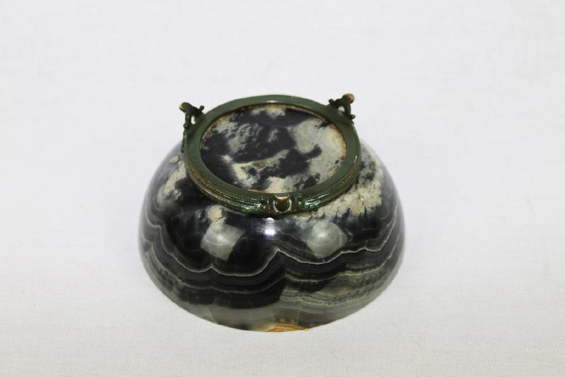 Antique Chinese Marble Bowl with Bronze Stand Attached - 5