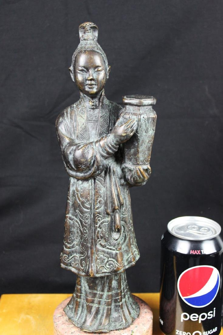 Antique Chinese Hand Carved Bronze Statue