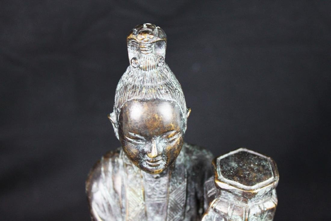 Antique Chinese Hand Carved Bronze Statue - 2