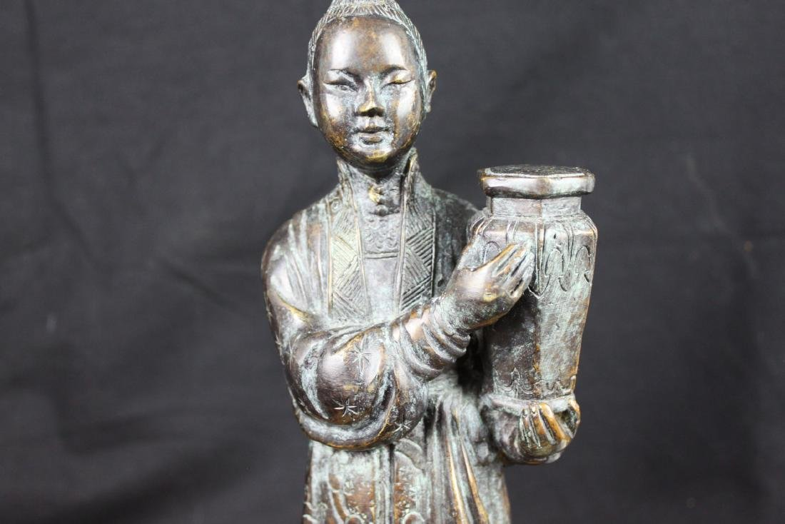 Antique Chinese Hand Carved Bronze Statue - 3