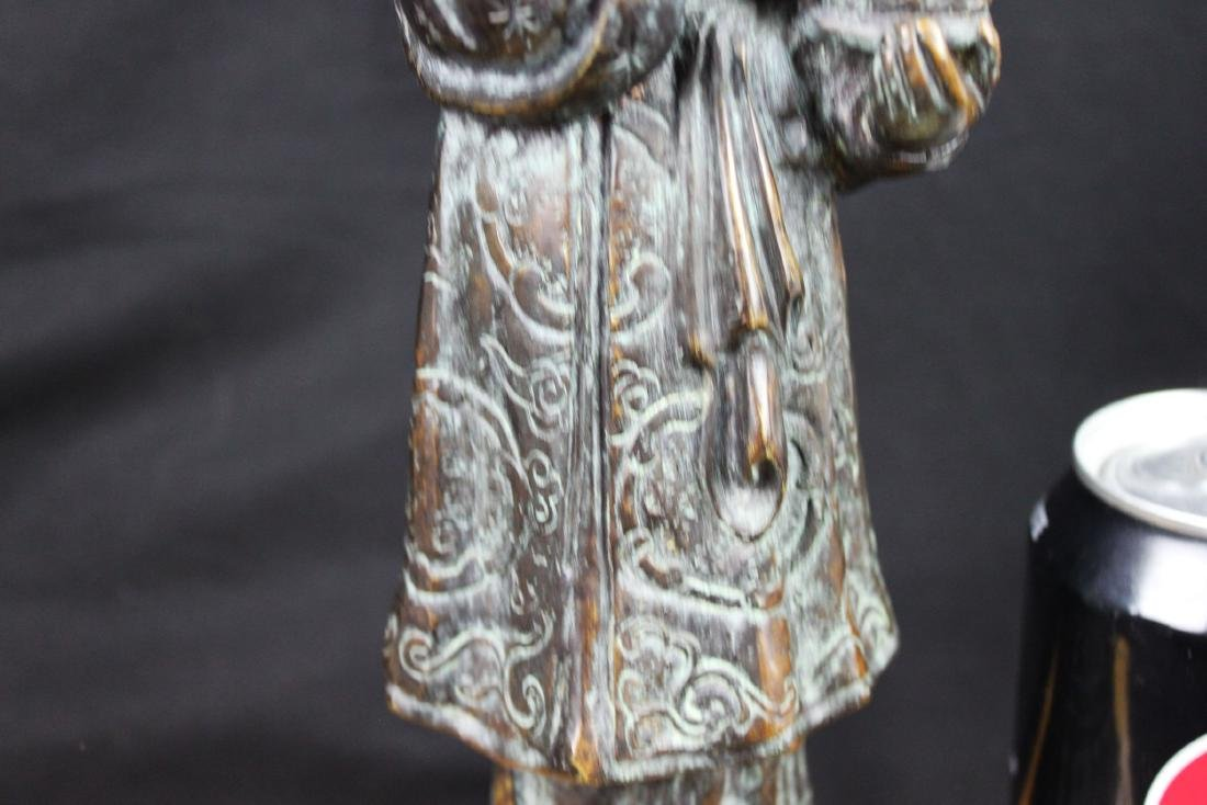 Antique Chinese Hand Carved Bronze Statue - 4