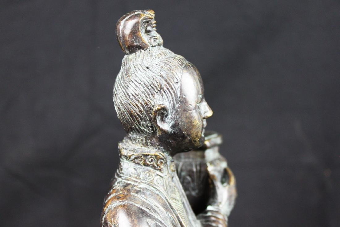 Antique Chinese Hand Carved Bronze Statue - 7