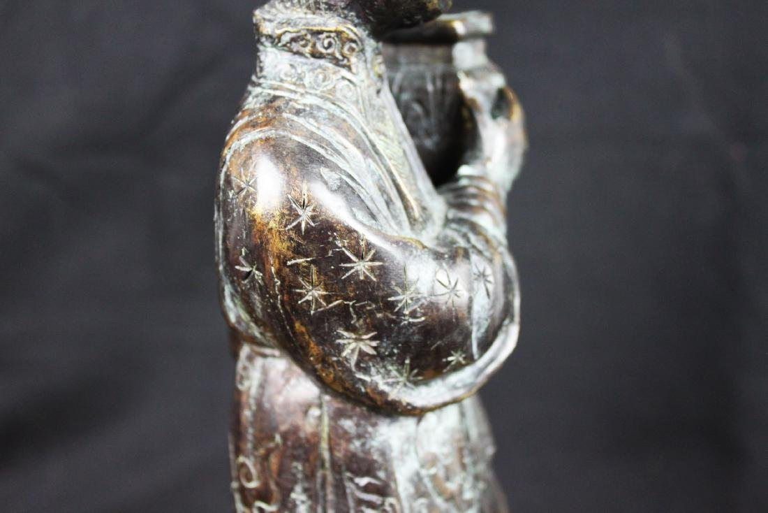 Antique Chinese Hand Carved Bronze Statue - 8