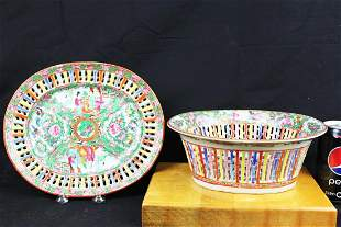 Antique Chinese Famillie Rose Porcelain Plates