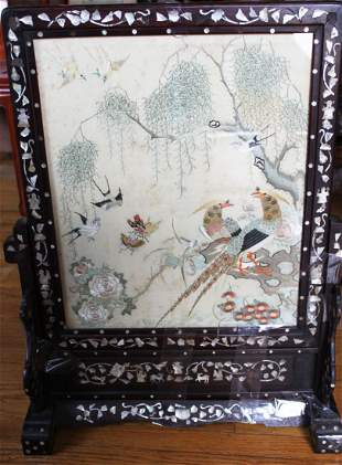 Antique Chinese Silk Painting Wood Panel