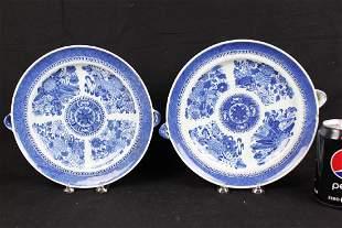 A Pair Antique BlueWhite Chinese Porcelain Plates
