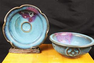 Antique Chinese Junyao Bowl and Plate