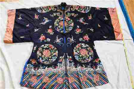 Antique Hand Carved Chinese Silk Cloth