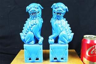 A Pair Blue Gild Porcelain Lion Statue