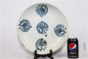 Antique WhiteBlue Porcelain Plate
