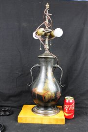 Antique Chinese Bronze Vase Lamp 1900s