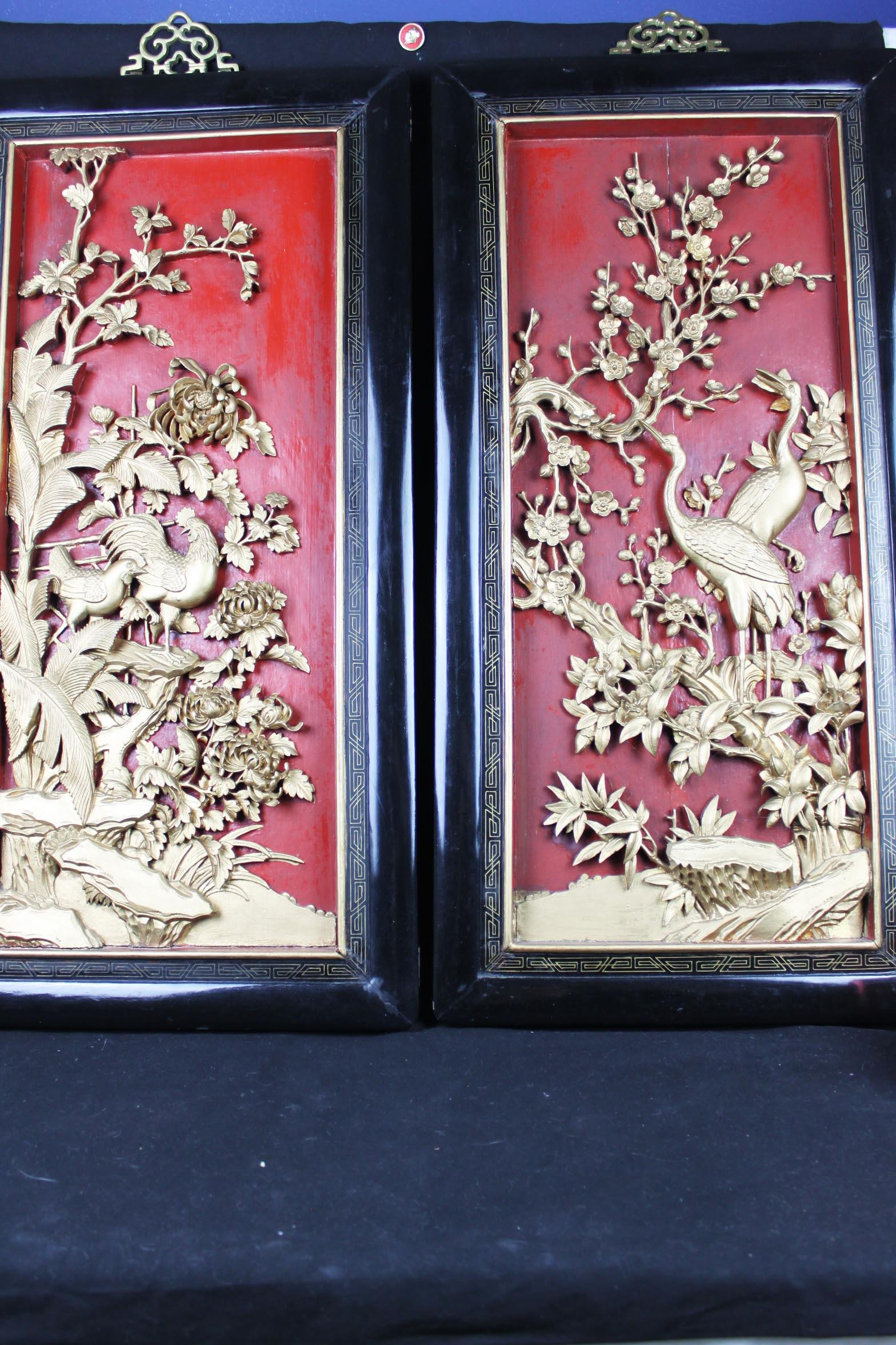 Antique Chinese Hand Carved Wood Panel