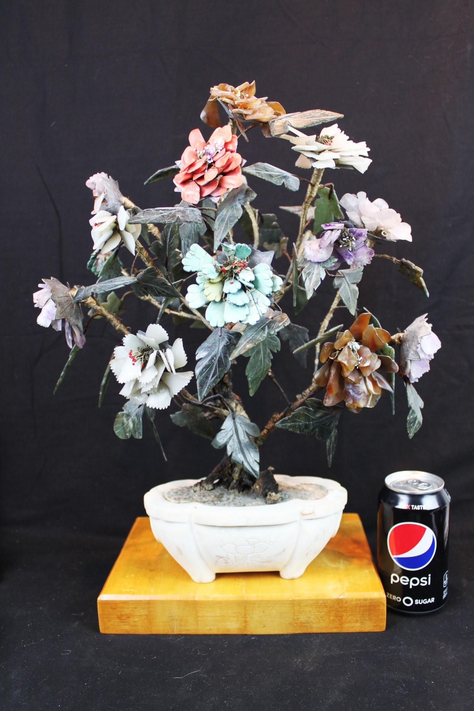 Antique Chinese Jade Rose Quartz Tree