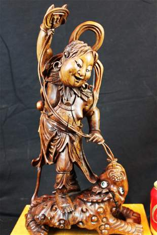 Antique Hand Carved Red-Wood Statue
